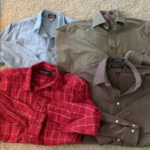 Men's dress shirts, various sizes and brands